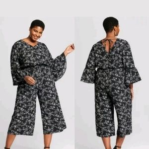 Ava & Viv Floral Print Jumpsuit Black